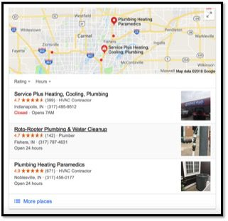 Google map with local businesses in fishers indiana