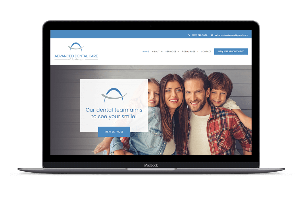 charley grey web design client advanced dental care of anderson mockup