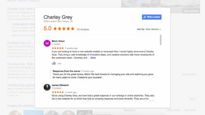 charley grey web design agency's google reviews