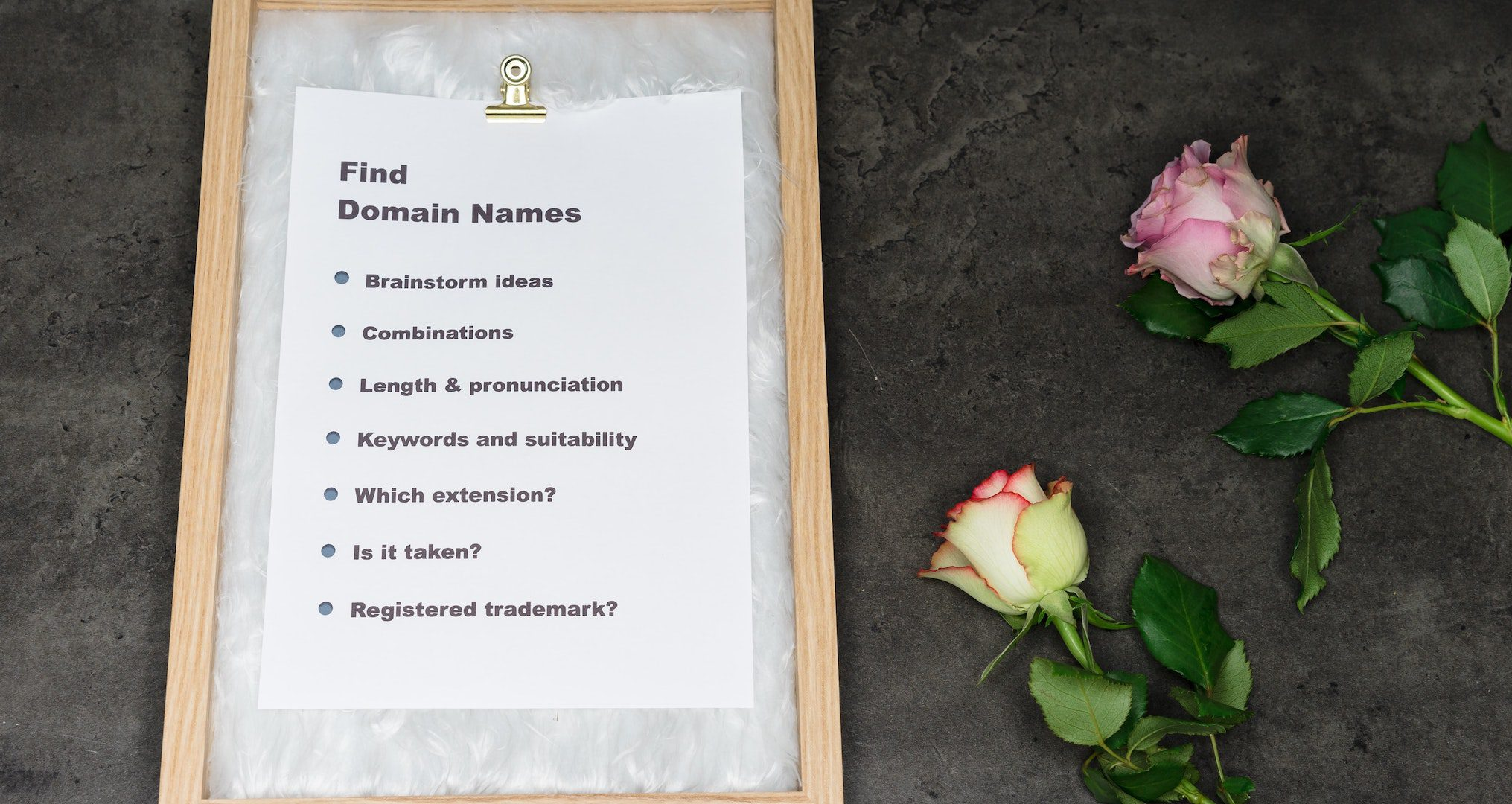 domain name checklist with two roses